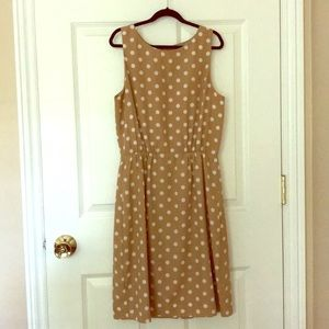 Sleeveless polka dot J Crew dress